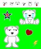 Little polar bear baby cartoon set2 Royalty Free Stock Image