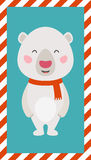 Little Polar bear. Christmas and New year card. EPS 10 file, easy to editable Stock Photo