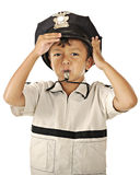 Little Police with Whistle Royalty Free Stock Images