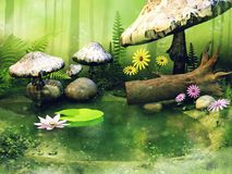 Little pond with fairy mushrooms Stock Photo