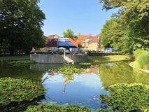 Free Little Pond With Crane Bird Statue In The Spa Garden Julijes Park Or Umjetno Jezerce Sa Statuom Zdrala U Julijevom Parku Royalty Free Stock Image - 157638326