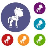 Little pony icons set. In flat circle red, blue and green color for web Stock Photos
