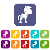 Little pony icons set flat Royalty Free Stock Photo