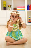 Little popcorn princess playing Royalty Free Stock Photography