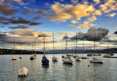The little port at Zurich lake Royalty Free Stock Images
