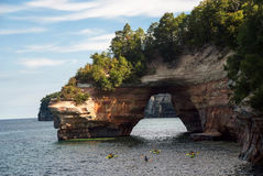 Little Portal Point arches over Lake Superior, Pictured Rocks National Lakeshore Royalty Free Stock Images