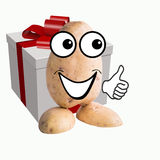 Little potato man big gift Royalty Free Stock Images