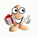 Little potato man with gift Royalty Free Stock Photography