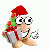 Little potato man with gift Stock Photo