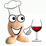 Little potato man wine tasting Stock Photo