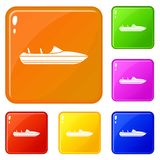 Little powerboat icons set vector color. Little powerboat icons set collection vector 6 color isolated on white background royalty free illustration