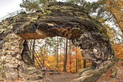 Little Pravcice Gate - famous natural sandstone arch - fish eye Stock Images