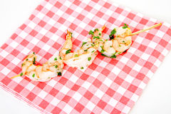 Little prawn snacks on napkin Stock Image