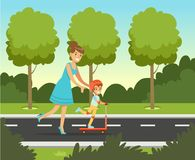 Little preschool boy having fun with her mother in summer park outside, family leisure vector illustration. Web banner Stock Photos