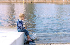Little preschool boy playing on beach outdoors Royalty Free Stock Photography