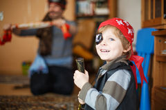 Little preschool boy of 4 years in pirate costume, indoors. Royalty Free Stock Photo