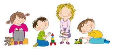 Little preschool children playing together. royalty free illustration