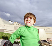 Little preschooler boy learning rollerskating Royalty Free Stock Photography