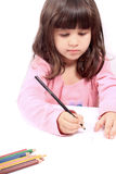 Little preschooler drawing or writing Royalty Free Stock Image