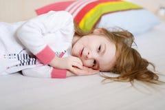 Little preschooler girl in pajamas Royalty Free Stock Images