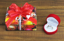 A little present box and box with ring Stock Photo