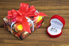 A little present box and box with ring Stock Photos
