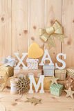 Little presents for christmas. Little presents and glittery ornaments for christmas royalty free stock photography