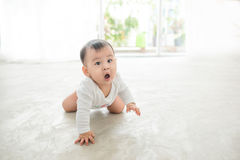 Little pretty baby girl crawling on the floor at home Stock Image