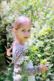 Little pretty  blonde girl and a lot of white flowers in summertime Stock Photo