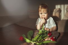 A little pretty boy looks into the camera and holds his finger in his mouth. Next to him is a bouquet of colorful tulips. Home and. A little pretty boy looks royalty free stock photos