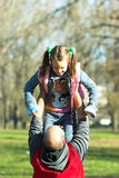 Little pretty child happy running to father Royalty Free Stock Photography
