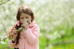 Little pretty girl dreaming in the green garden Stock Photos