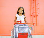 Little pretty girl in dress in shopping cart. Outdoors Stock Photography