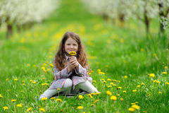Little pretty girl in the green garden Royalty Free Stock Images