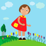 Little pretty girl on the meadow. EPS 10 vector illustration