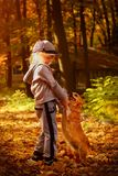 A little pretty girl playing with a dog in the autumn park. Stock Photography