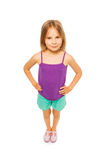 Little pretty girl in purple shirt Stock Photos