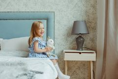 Little girl at home stock image