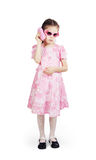 Little pretty girl wearing beautiful pink dress Stock Image