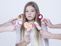 Free Little Pretty Girl With Big Candy Stock Images - 173167954