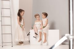 Little pretty girls with flowers dressed in wedding dresses Stock Photos