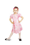 Little pretty naughty girl wearing beautiful pink dress Stock Photography