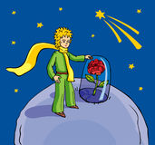 Little prince. With a beautiful rose on a planet vector illustration