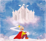 Little prince on the bridge near the castle in beautiful sky. Illustration art stock illustration