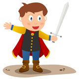 Little Prince Charming. A cute little prince charming with red cloak and a sword. Eps file available vector illustration