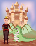 Little prince and dragon Royalty Free Stock Images