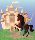 Little prince and fairy tale magic castle Stock Photo