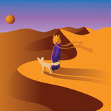 Little prince with a Fennec fox in the desert. Stock Images