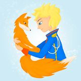 Little prince and the fox. Friends forever. We are responsible for those who have tamed stock illustration