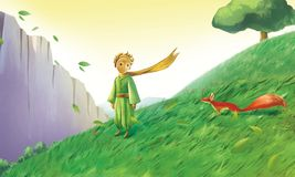 Little prince and little fox. The Yellow haired little prince was dressed in green and a little red fox on the green grass. A big green tree and a grey fence royalty free illustration